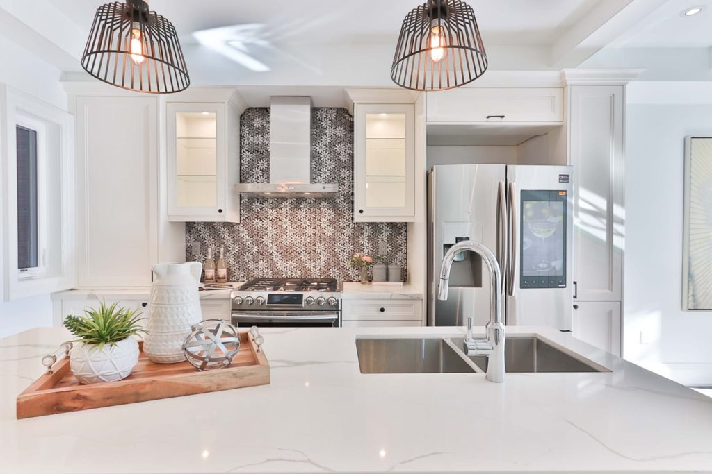 kitchen with gray and white wall paint