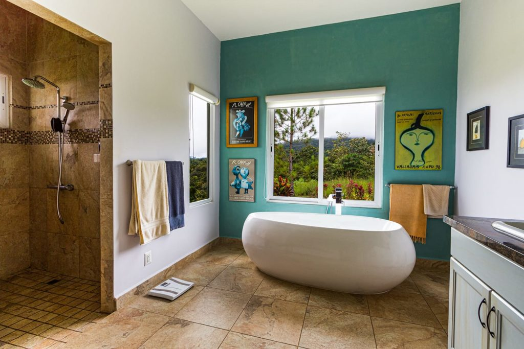 modern bathroom with white painted walls and a teal paint on the wall behind the bathtub, Bathroom Painting Services