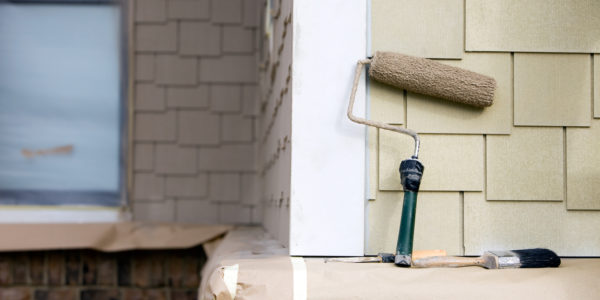 Home exterior paint job and roller